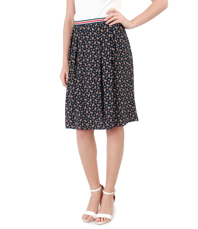 Viscose flaring skirt with floral print
