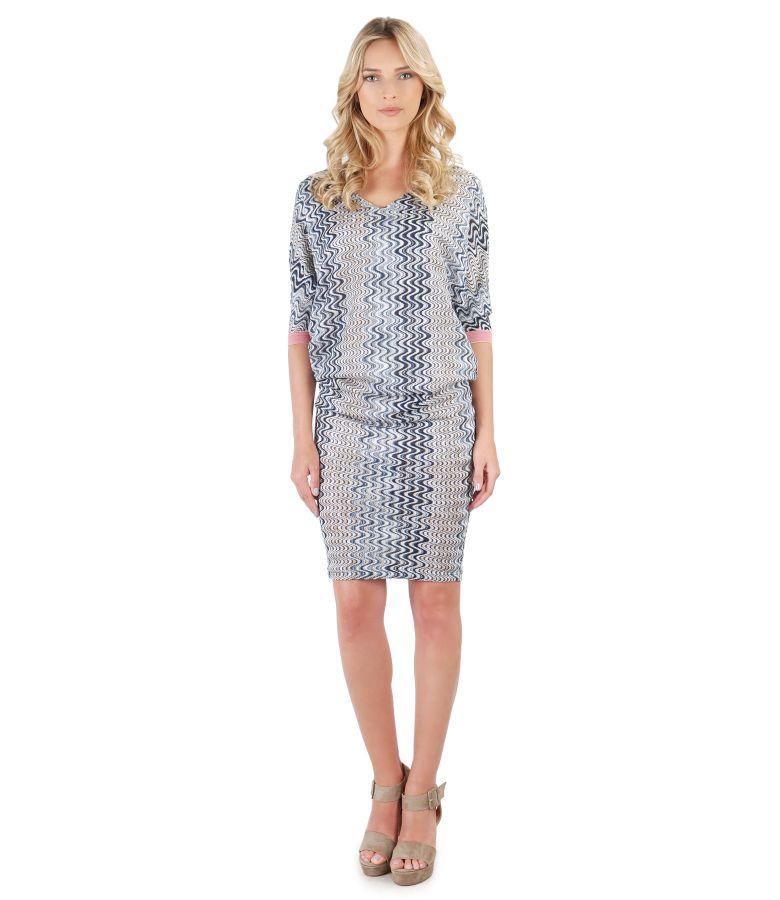 Lace midi dress with kimono sleeve