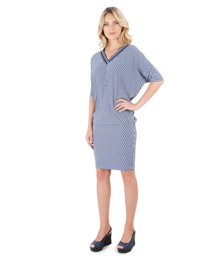 Midi dress made of brocade viscose jersey with kimono sleeve