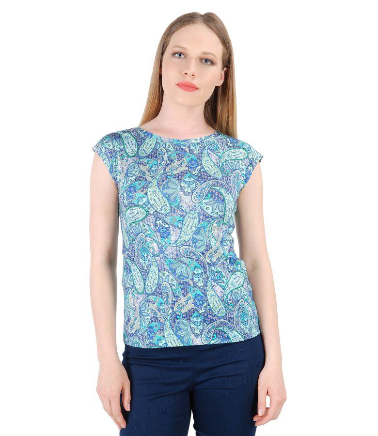 Paisley print jersey elegant blouse