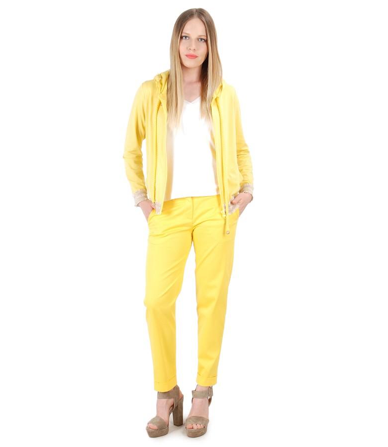 Textured cotton pants and uni jersey parka