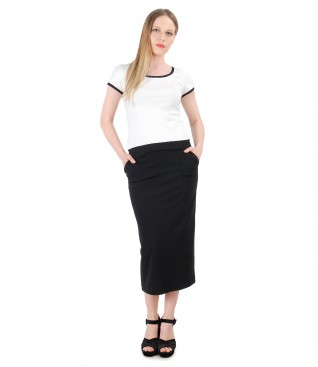 Elegant outfit with jersey skirt and t-shirt with short sleeve