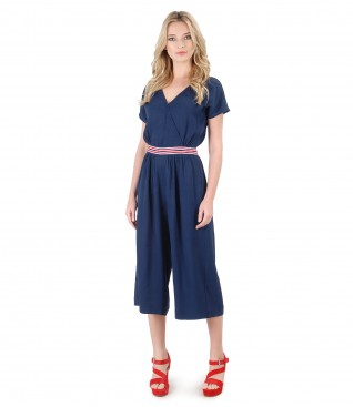 Viscose jumpsuit with pockets and elastic trim