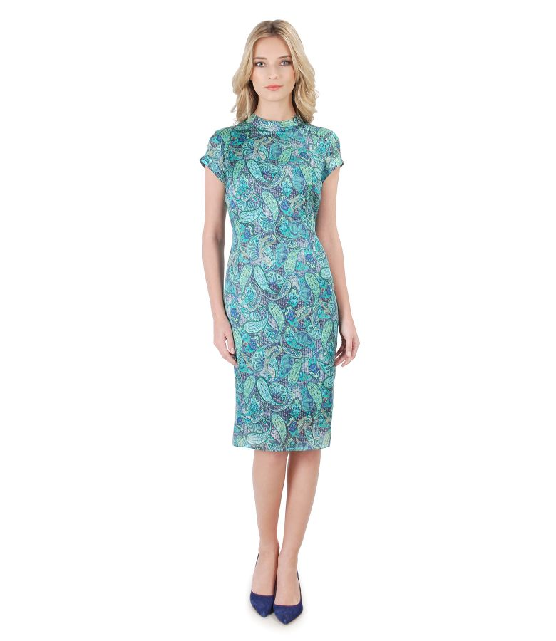 Paisley print silk dress with pearls