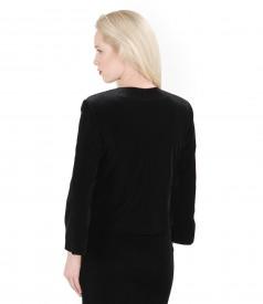 Black stretch velvet bolero