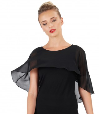 Elegant blouse with veil cape and Swarovski button on the back