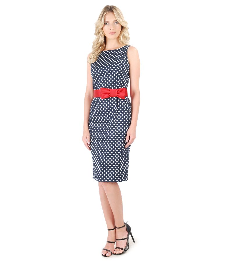 Elastic cotton dress printed with dots