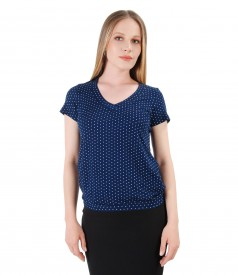 Jersey blouse printed with lace corner