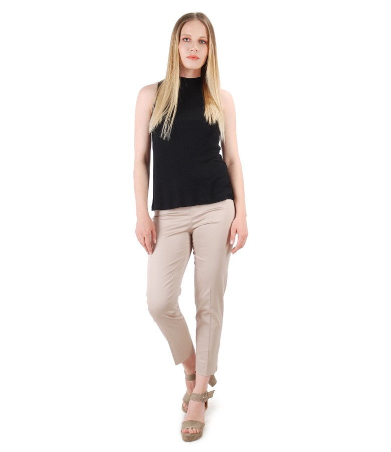 Ankle pants with jersey corduroy blouse without sleeves