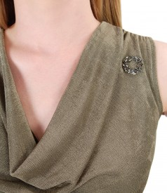 Uni jersey blouse embellished with crystals