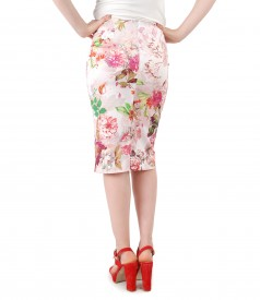 Skirt made of printed elastic cotton with slit with zipper