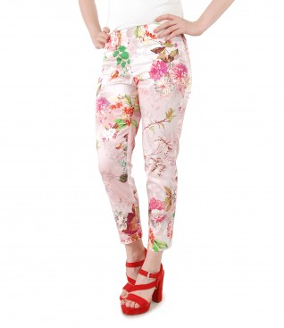 Ankle pants made of printed elastic cotton