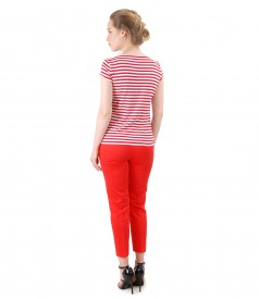 Elegant outfit with cotton ankle pants and jersey t-shirt with stripes