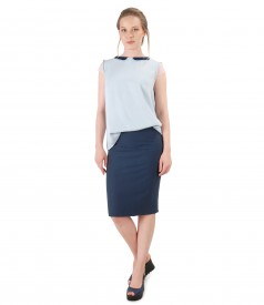 Office outfit with skirt and viscose blouse