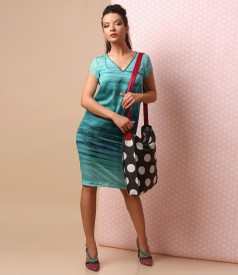 Elegant dress with bag printed with dots