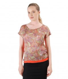 Blouse printed with asian motifs
