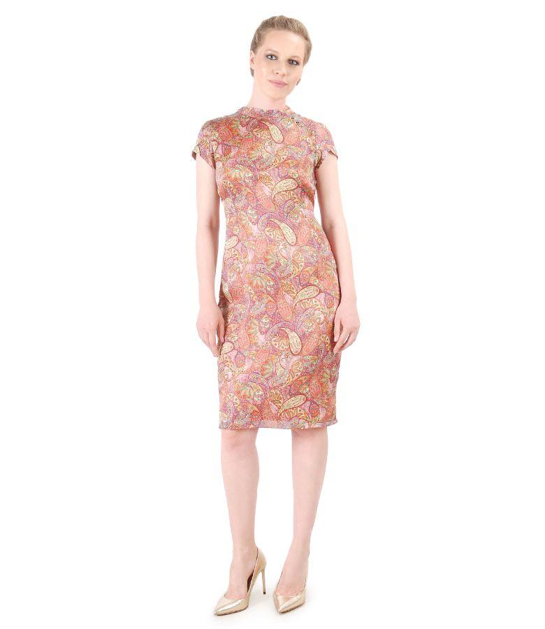 Paisley print silk dress with Swarovski pearls