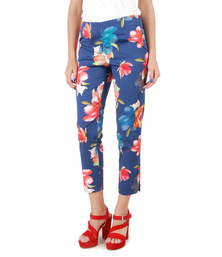 Ankle pants made of elastic cotton with floral print