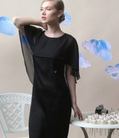 Viscose dress with cape embellished with crystals