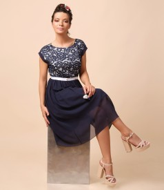 Evening dress with floral lace
