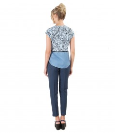 Viscose pants and blouse with floral print