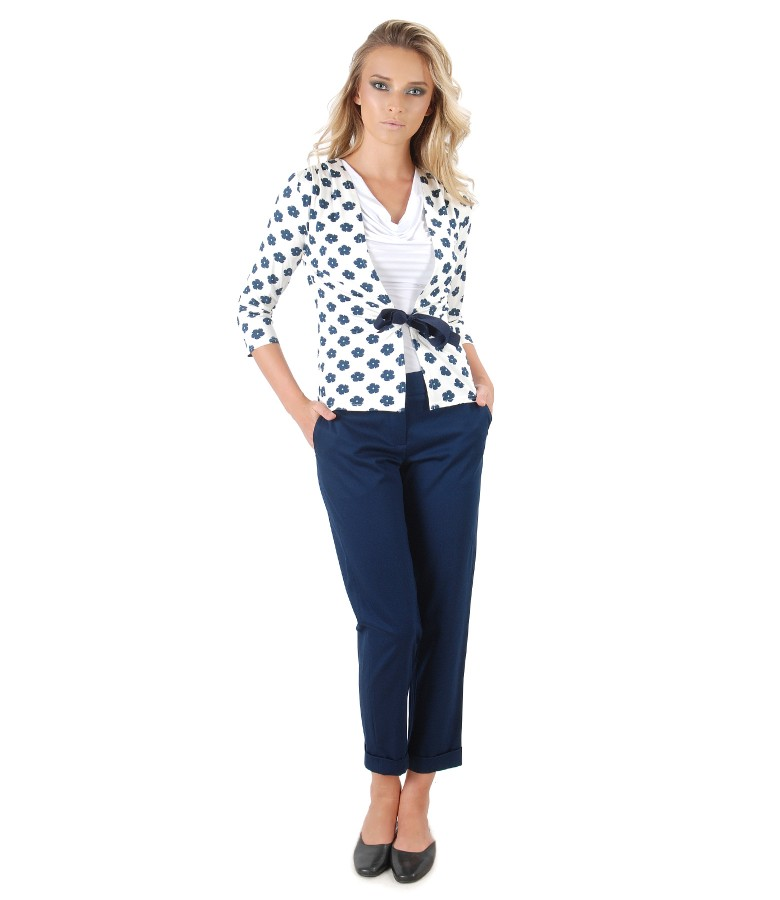 Casual outfit with textured cotton pants and blouse with belt