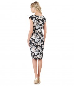 Cotton brocade dress with nude pearls on decolletage
