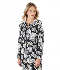 Cotton brocade jacket with nude pearls on shoulder and decolletage