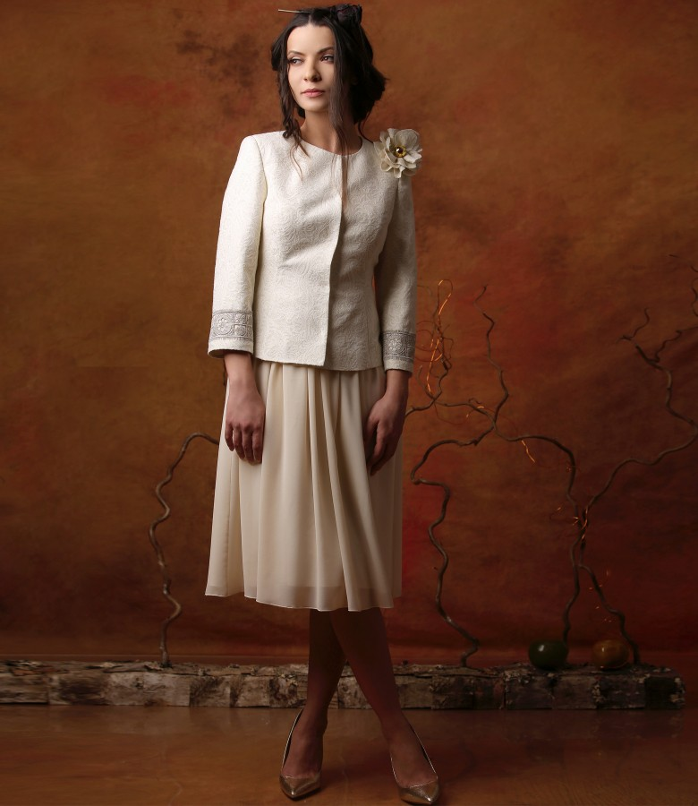 Elegant outfit with dress and jacket made of brocade with cotton