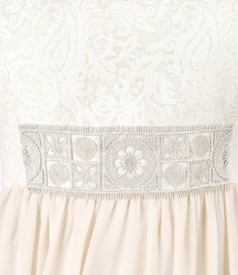 Dress with corsage made of brocade with cotton and golden thread