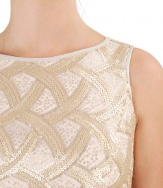 Viscose dress with corsage with sequins