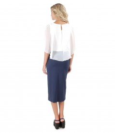 Casual outfit with jersey skirt and blouse with veil cape