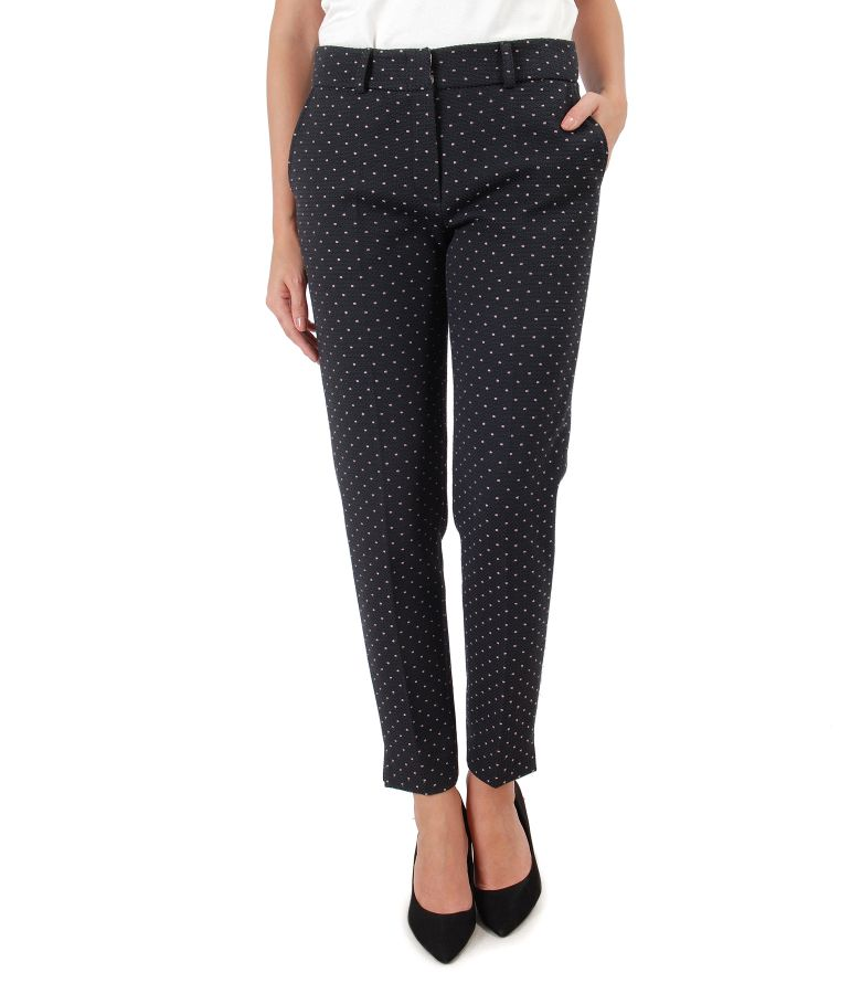 Cotton pants printed with lace corner