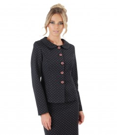 Cotton jacket printed with lace corner