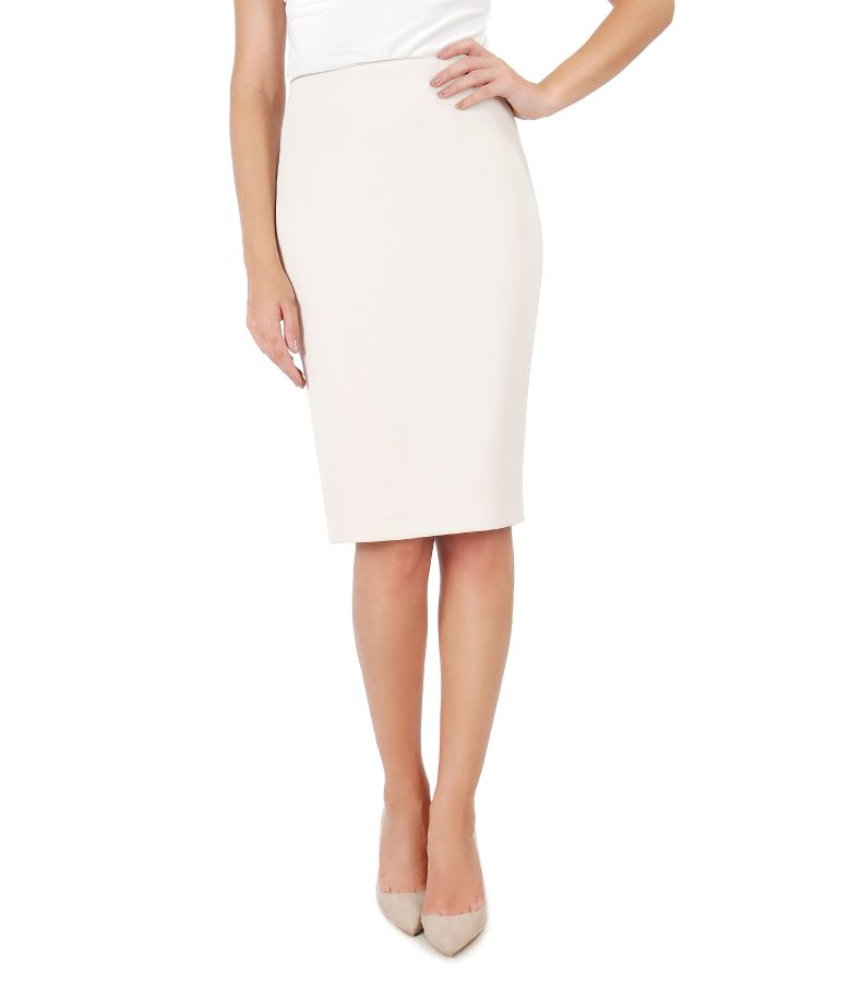 Office skirt with waist trim