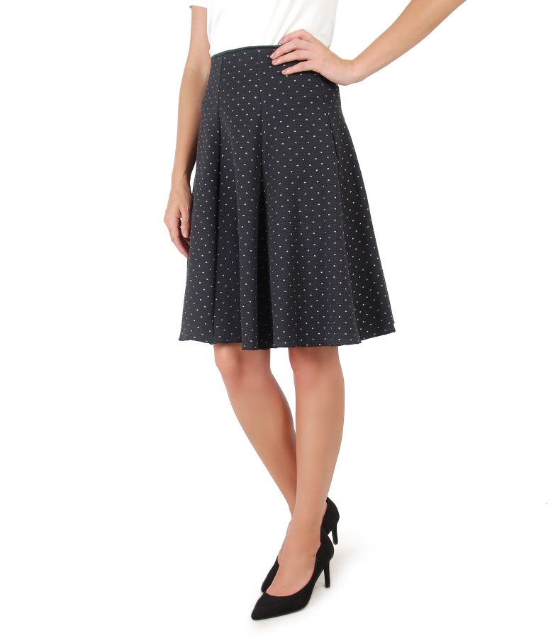 Flaring skirt made of cotton printed with lace corner
