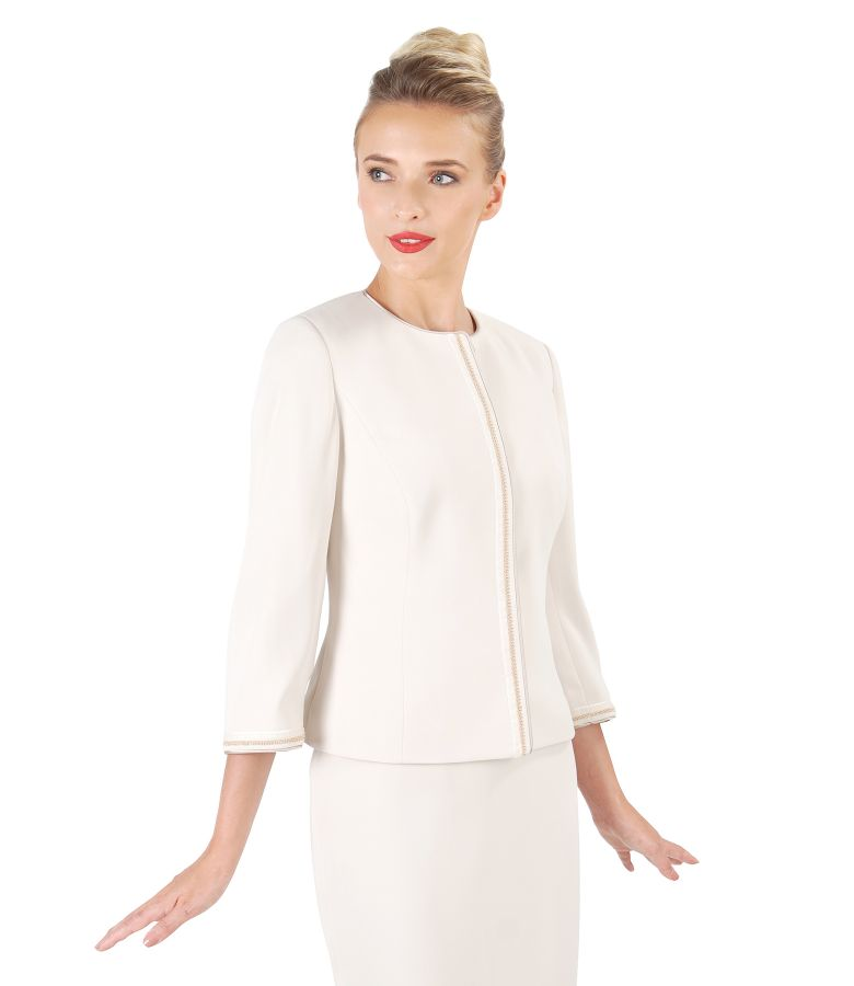 Office jacket with trim embellished with crystals
