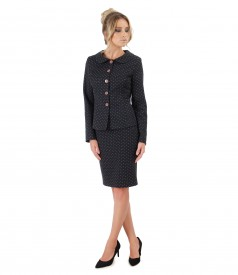 Office women suit with jacket and cotton skirt printed with lace corner