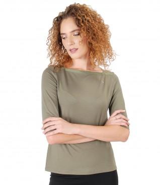 Elastic jersey blouse embellished with Swarovski crystals