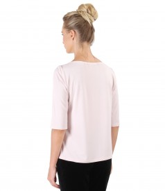 Elastic jersey blouse embellished with crystals trim