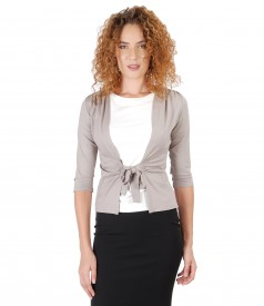Jersey blouse tied with cord