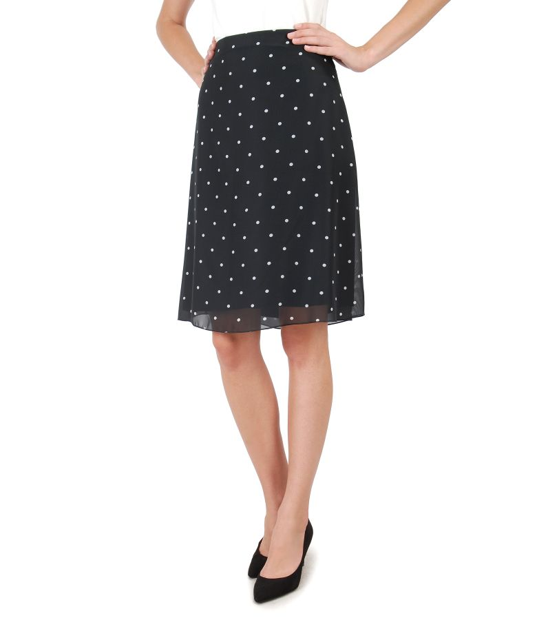 Flaring skirt made of veil printed with dots