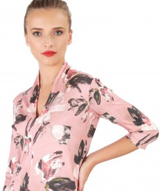 Printed jersey blouse with deep decolletage
