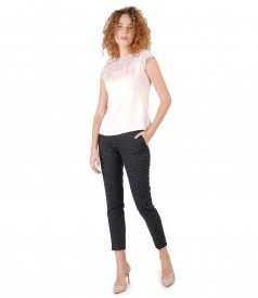 Ankle pants with viscose blouse