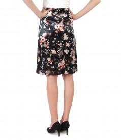 Flaring velvet skirt with floral print
