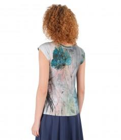Floral print jersey elegant blouse