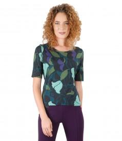 Elegant elastic jersey blouse