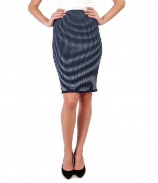 Office skirt with multicolor loops