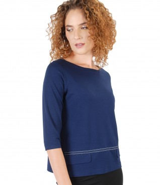 Elastic jersey blouse with 3/4 sleeves