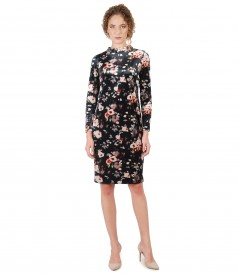 Elegant velvet dress with floral print
